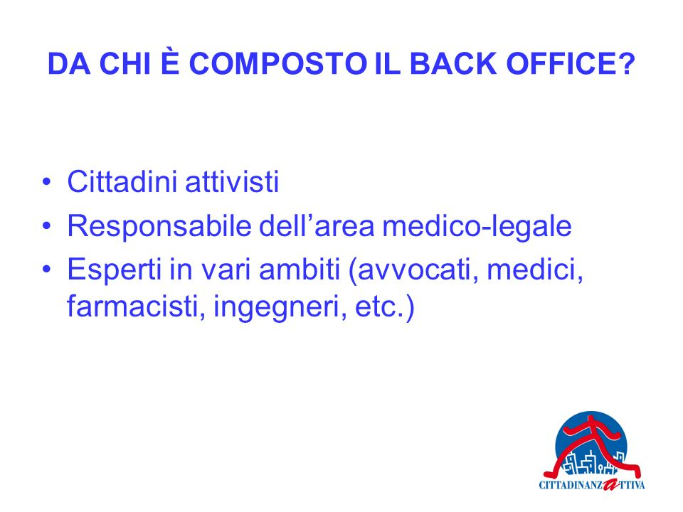 DA CHI È COMPOSTO IL BACK OFFICE