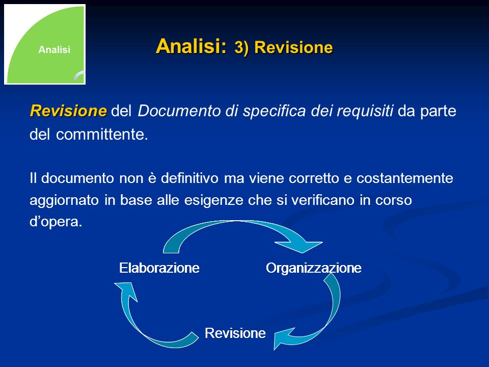 Analisi: 3) Revisione Revisione del Documento di specifica dei requisiti da parte. del committente.