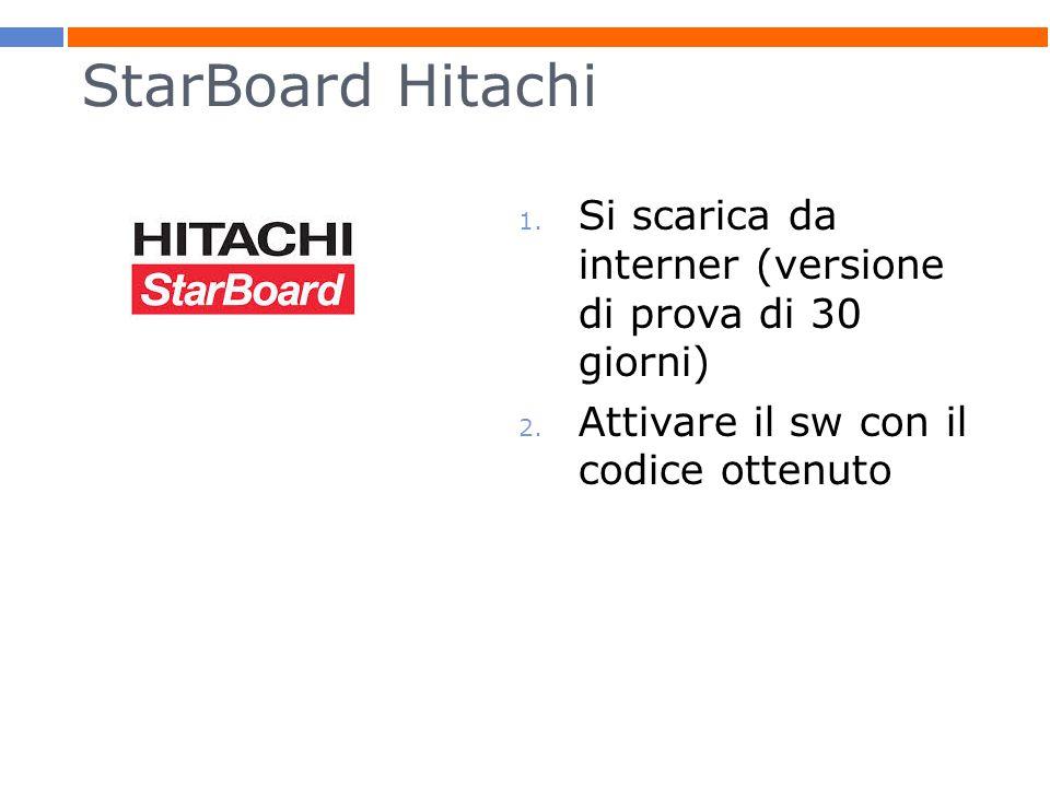 StarBoard Hitachi Si scarica da interner (versione di prova di 30 giorni) Attivare il sw con il codice ottenuto.