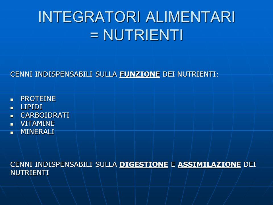 INTEGRATORI ALIMENTARI = NUTRIENTI