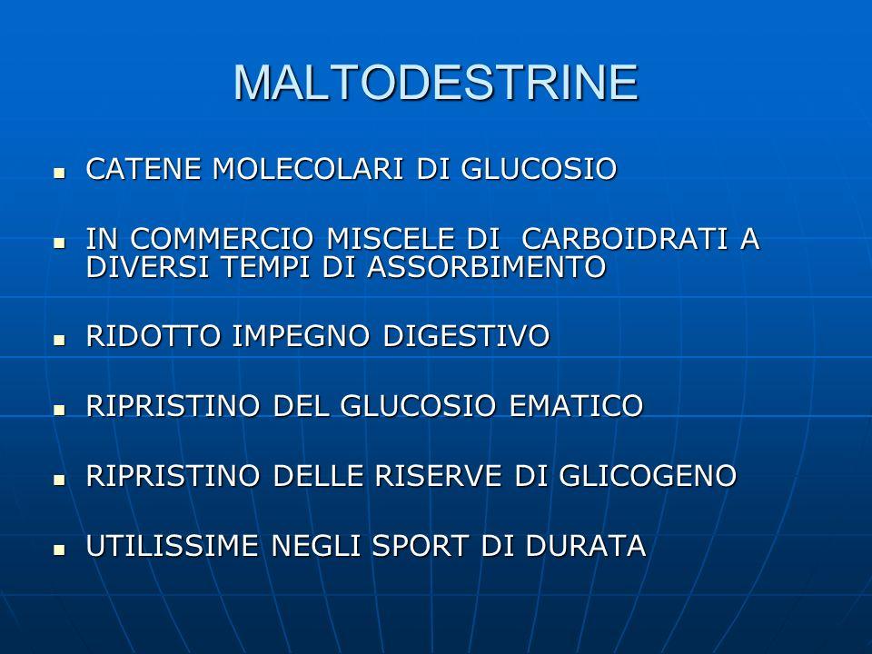 MALTODESTRINE CATENE MOLECOLARI DI GLUCOSIO