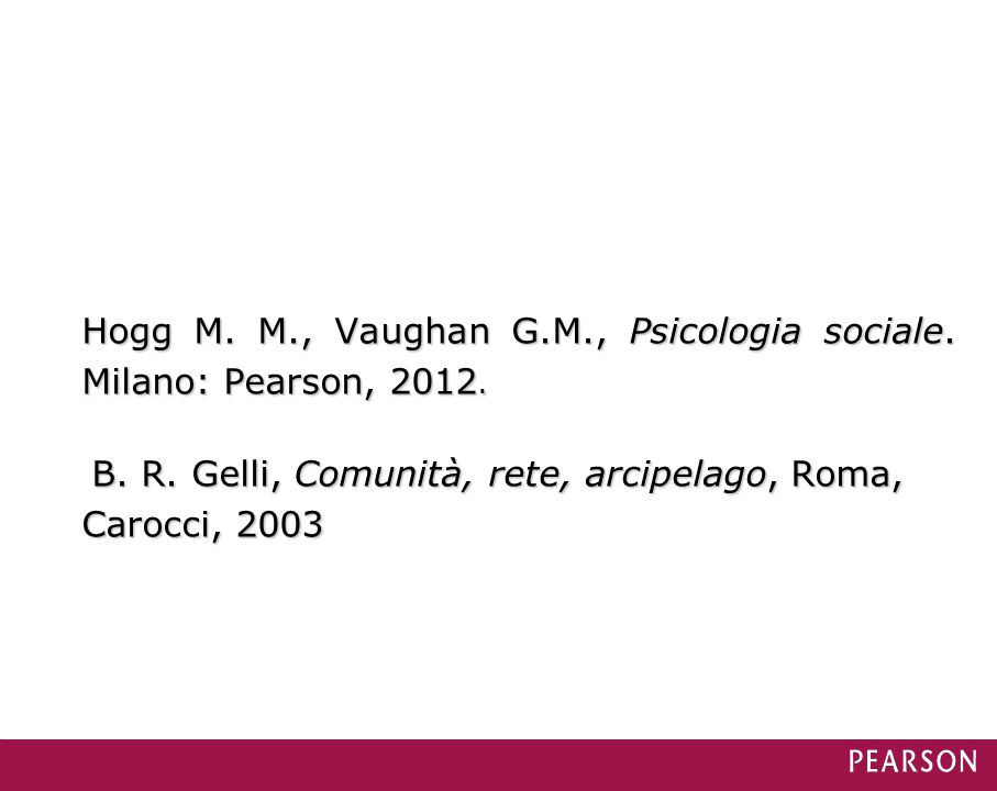 Hogg M. M., Vaughan G.M., Psicologia sociale. Milano: Pearson, 2012.