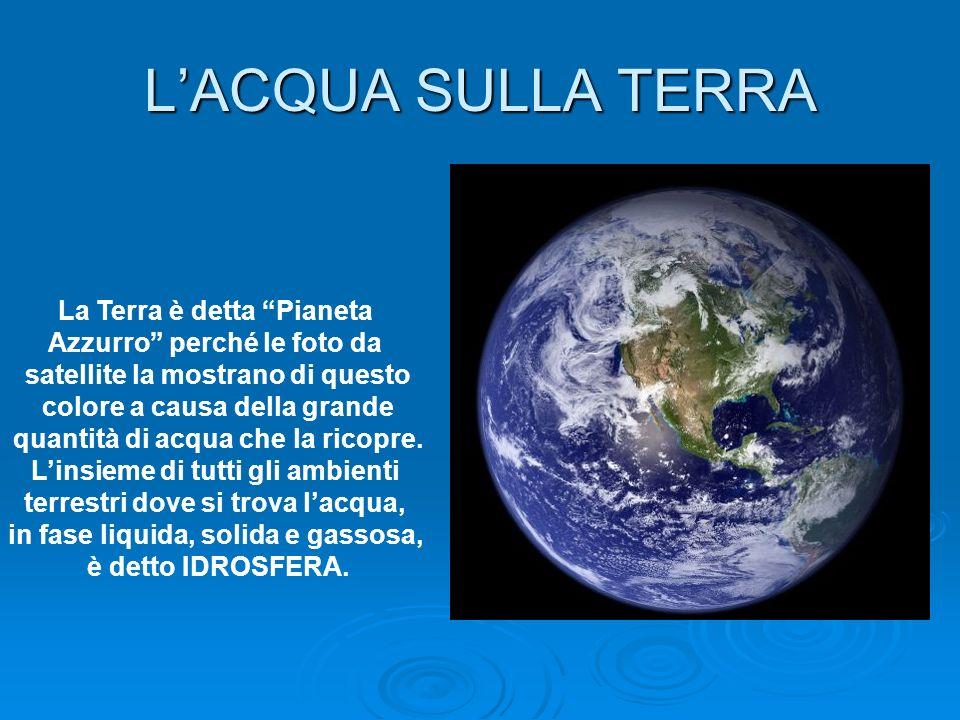 L'ACQUA SULLA TERRA La Terra è detta Pianeta