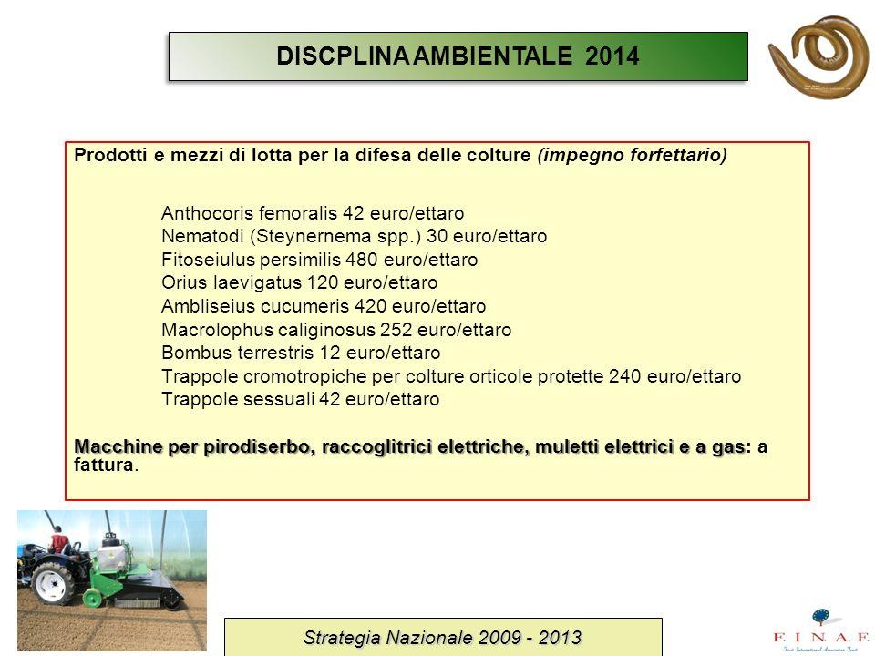 DISCPLINA AMBIENTALE 2014Prodotti e mezzi di lotta per la difesa delle colture (impegno forfettario)