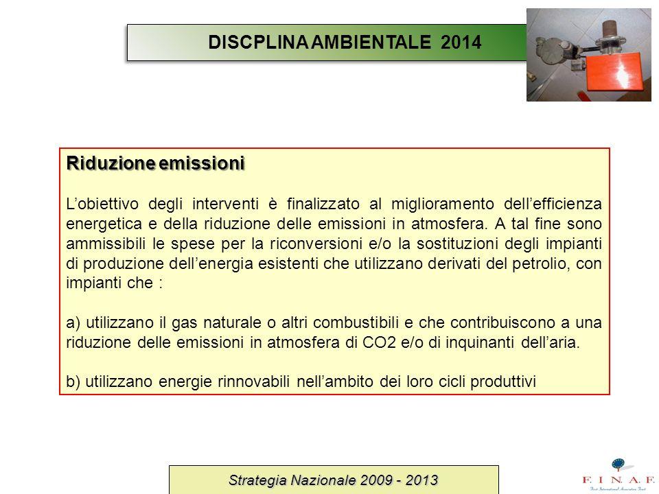 DISCPLINA AMBIENTALE 2014 Riduzione emissioni