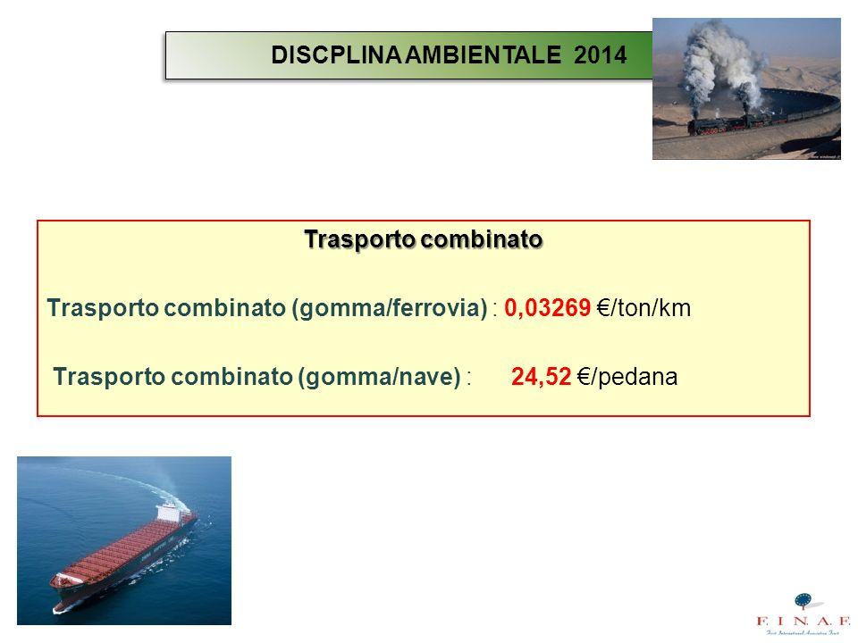 DISCPLINA AMBIENTALE 2014Trasporto combinato. Trasporto combinato (gomma/ferrovia) : 0,03269 €/ton/km.