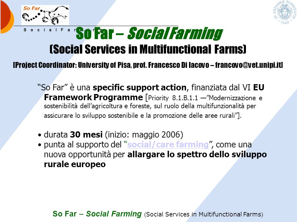 So Far – Social Farming (Social Services in Multifunctional Farms)