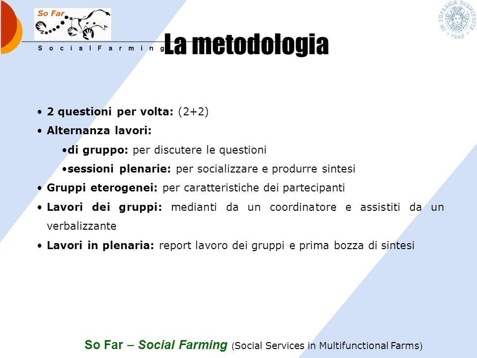 La metodologia 2 questioni per volta: (2+2) Alternanza lavori: di gruppo: per discutere le questioni.