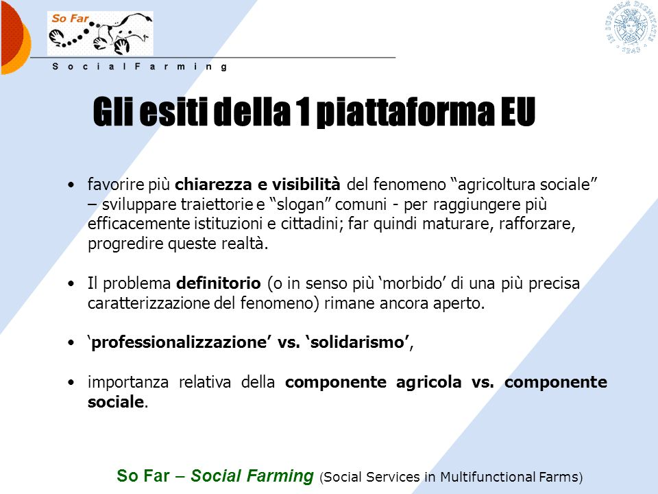 Gli esiti della 1 piattaforma EU