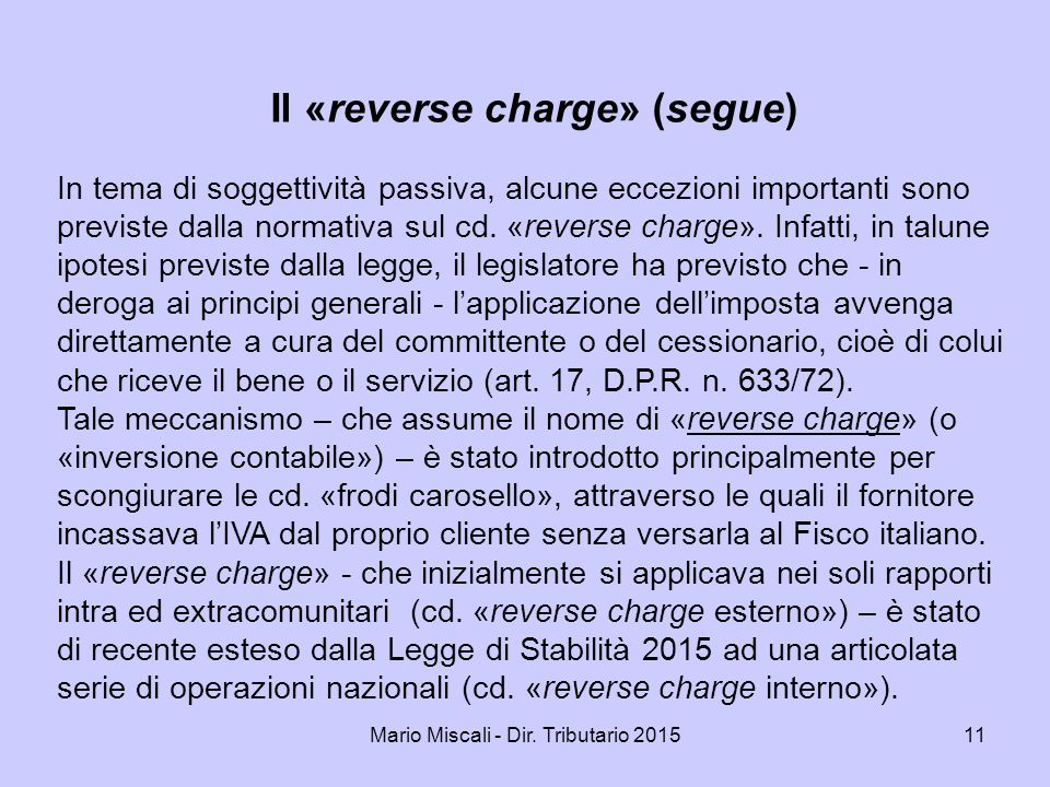 Il «reverse charge» (segue)