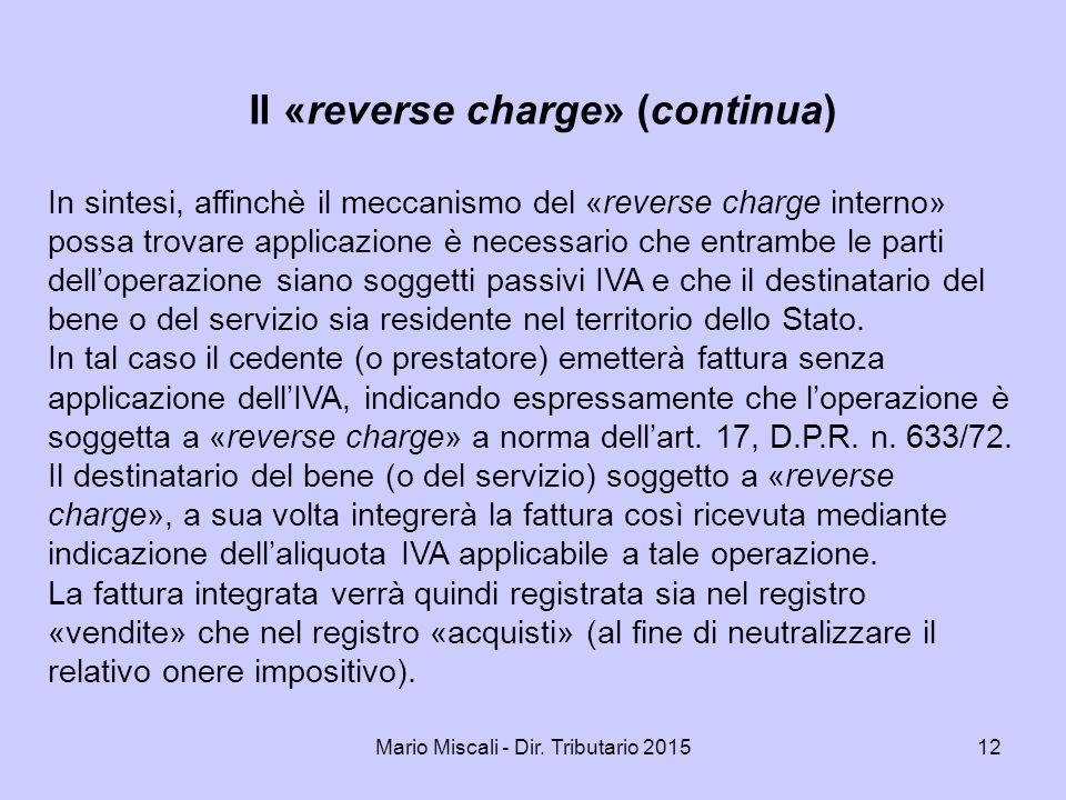 Il «reverse charge» (continua)