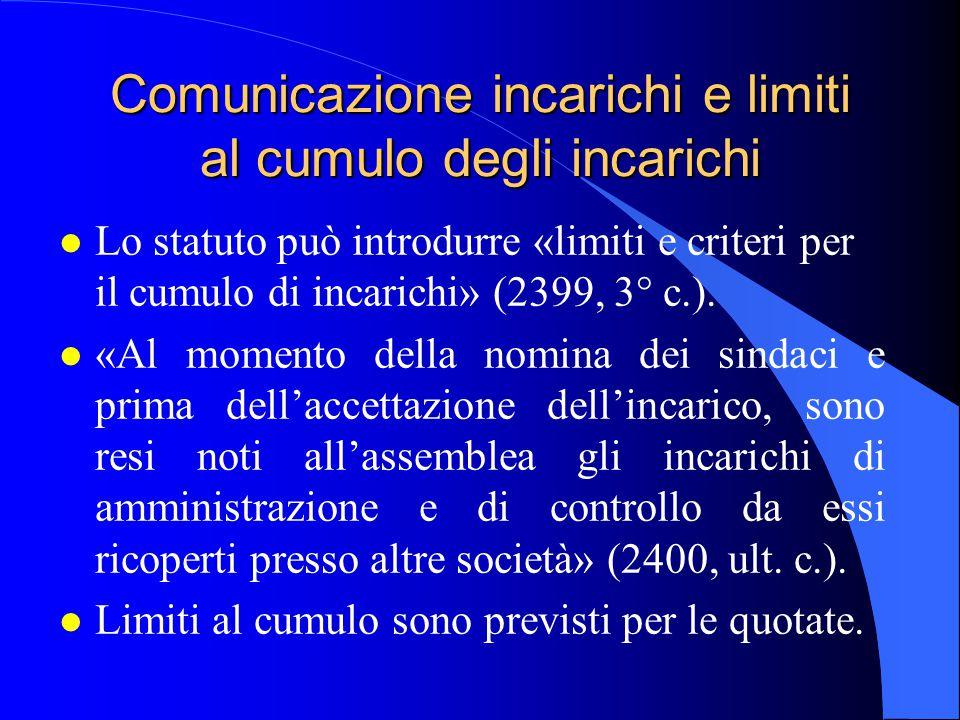 Comunicazione incarichi e limiti al cumulo degli incarichi