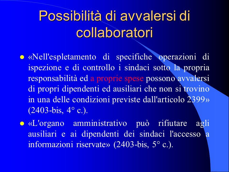 Possibilità di avvalersi di collaboratori