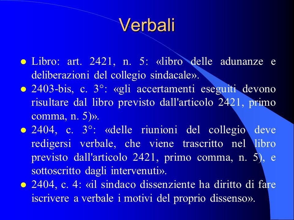 18/04/2017 Verbali. Libro: art. 2421, n. 5: «libro delle adunanze e deliberazioni del collegio sindacale».