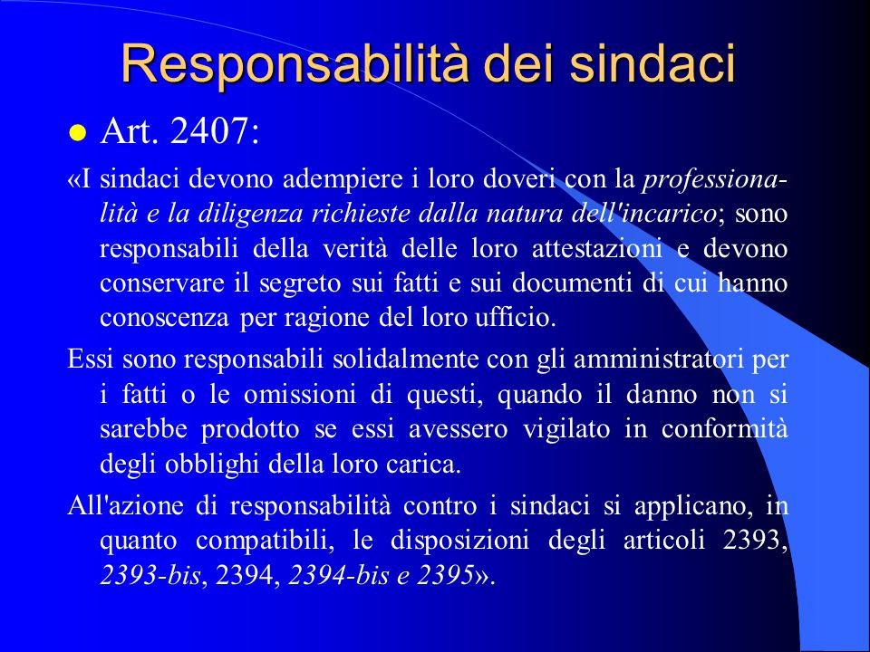 Responsabilità dei sindaci