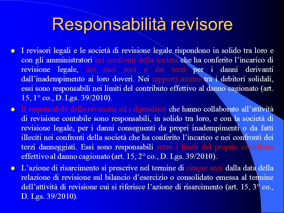 Responsabilità revisore