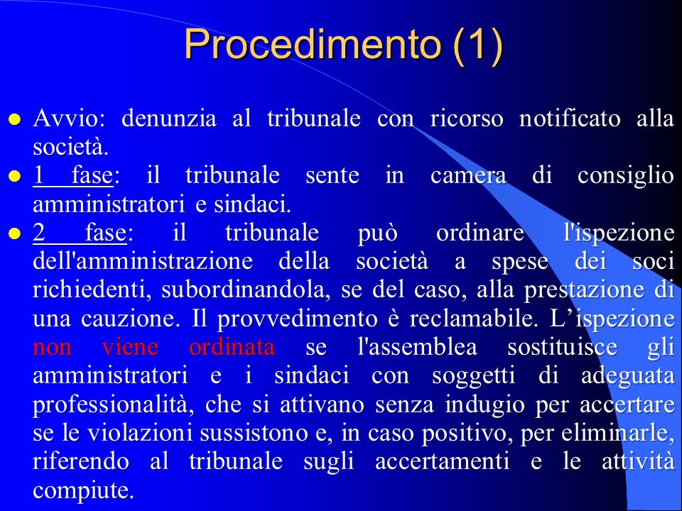 Procedimento (1) 18/04/2017. Avvio: denunzia al tribunale con ricorso notificato alla società.
