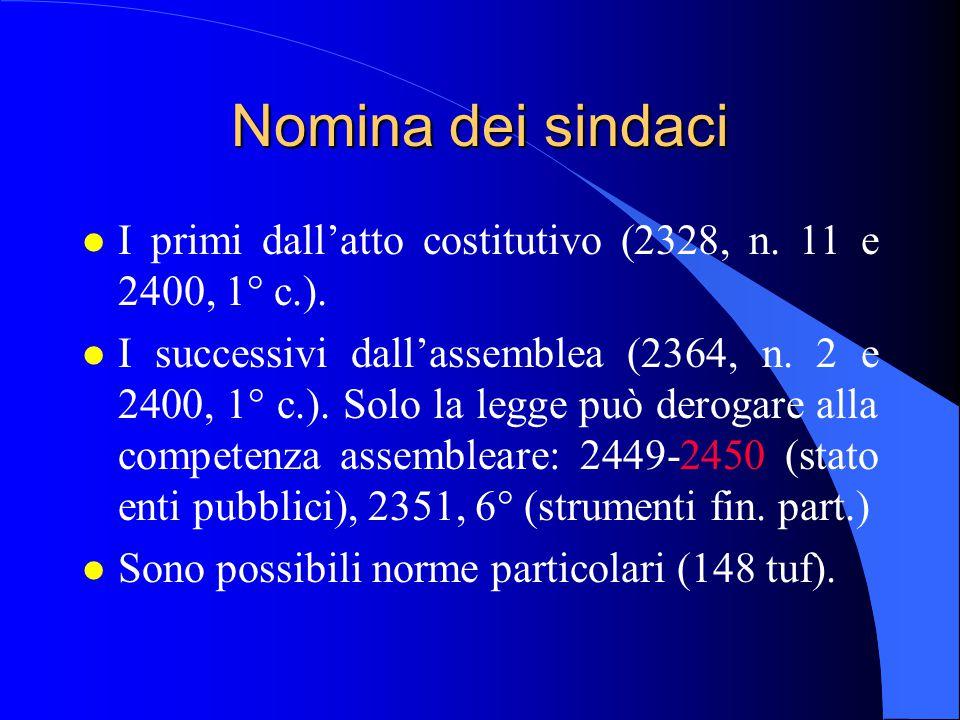 18/04/2017 Nomina dei sindaci. I primi dall'atto costitutivo (2328, n. 11 e 2400, 1° c.).