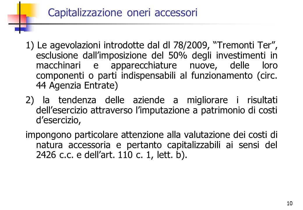 Capitalizzazione oneri accessori