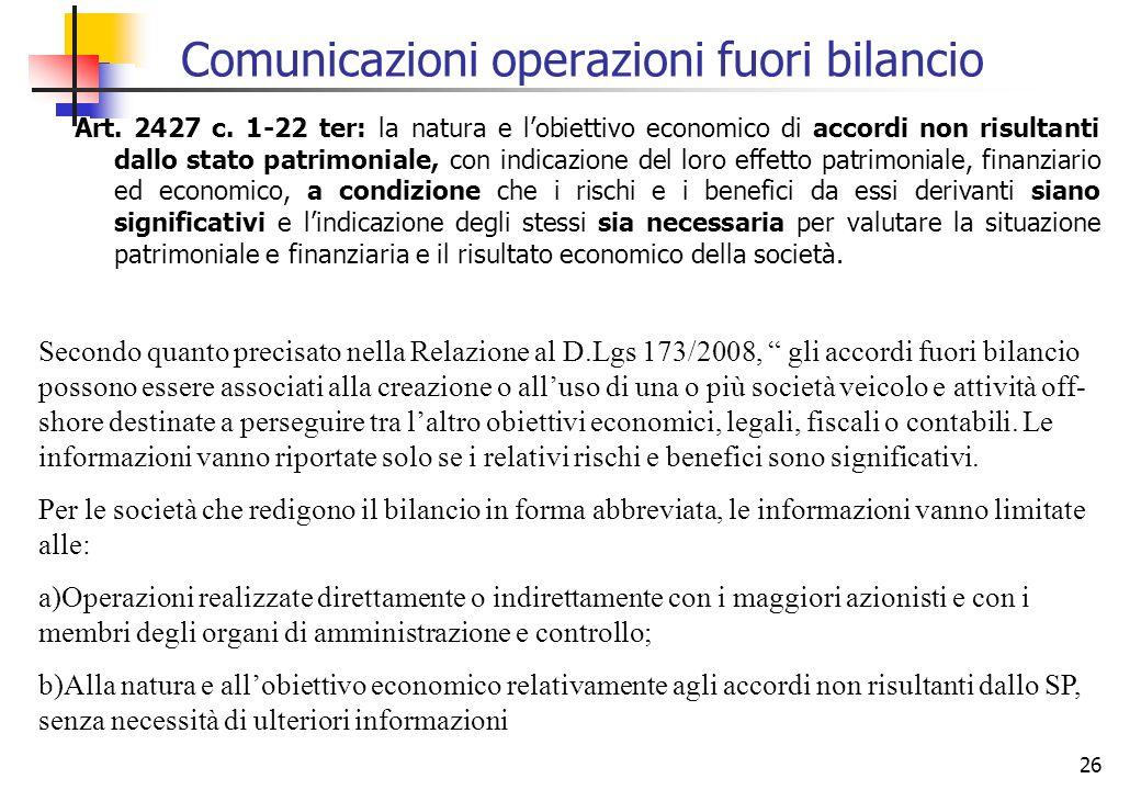 Comunicazioni operazioni fuori bilancio