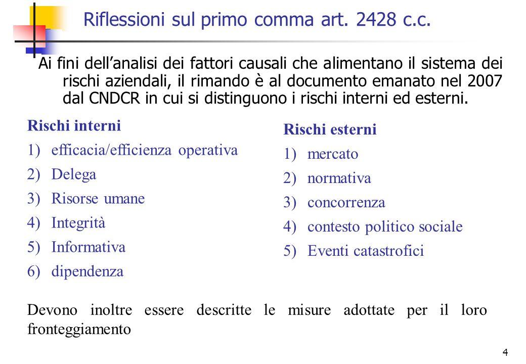Riflessioni sul primo comma art. 2428 c.c.
