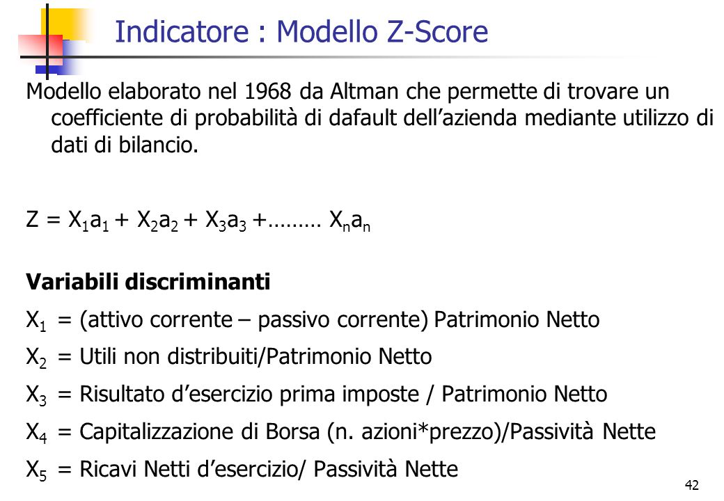 Indicatore : Modello Z-Score