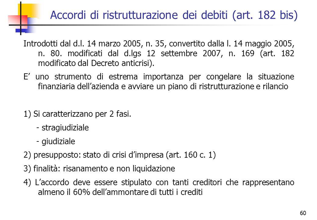Accordi di ristrutturazione dei debiti (art. 182 bis)