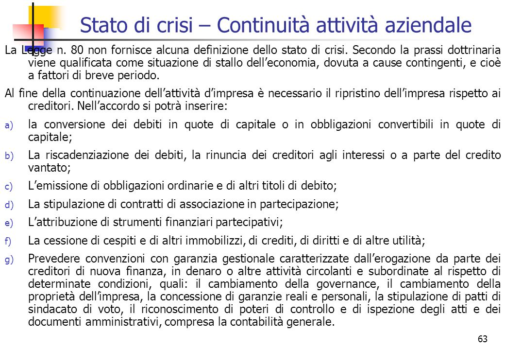 Stato di crisi – Continuità attività aziendale