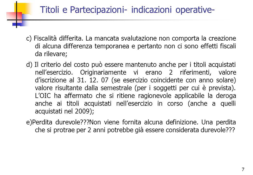 Titoli e Partecipazioni- indicazioni operative-