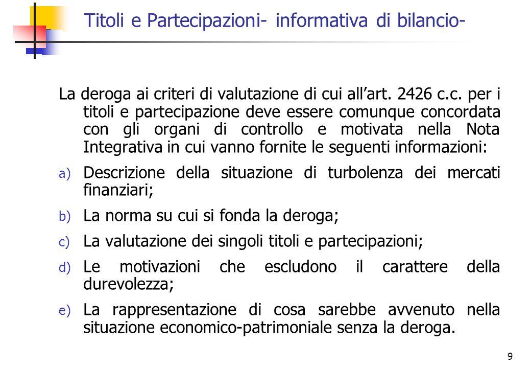 Titoli e Partecipazioni- informativa di bilancio-
