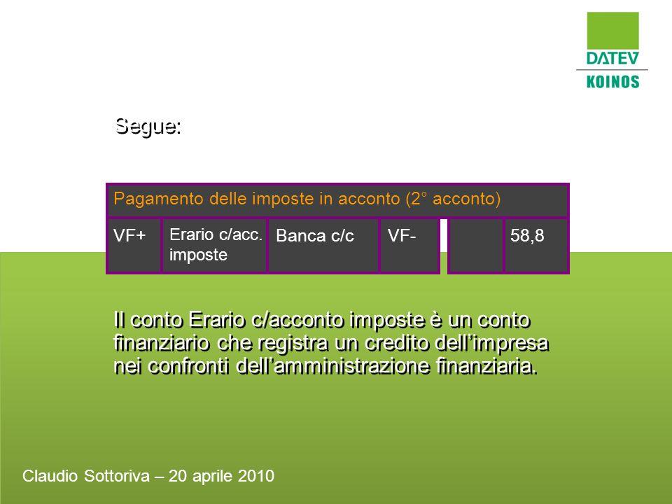 Segue: Pagamento delle imposte in acconto (2° acconto) Banca c/c. 58,8. VF- VF+ Erario c/acc. imposte.