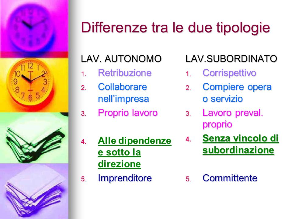 Differenze tra le due tipologie