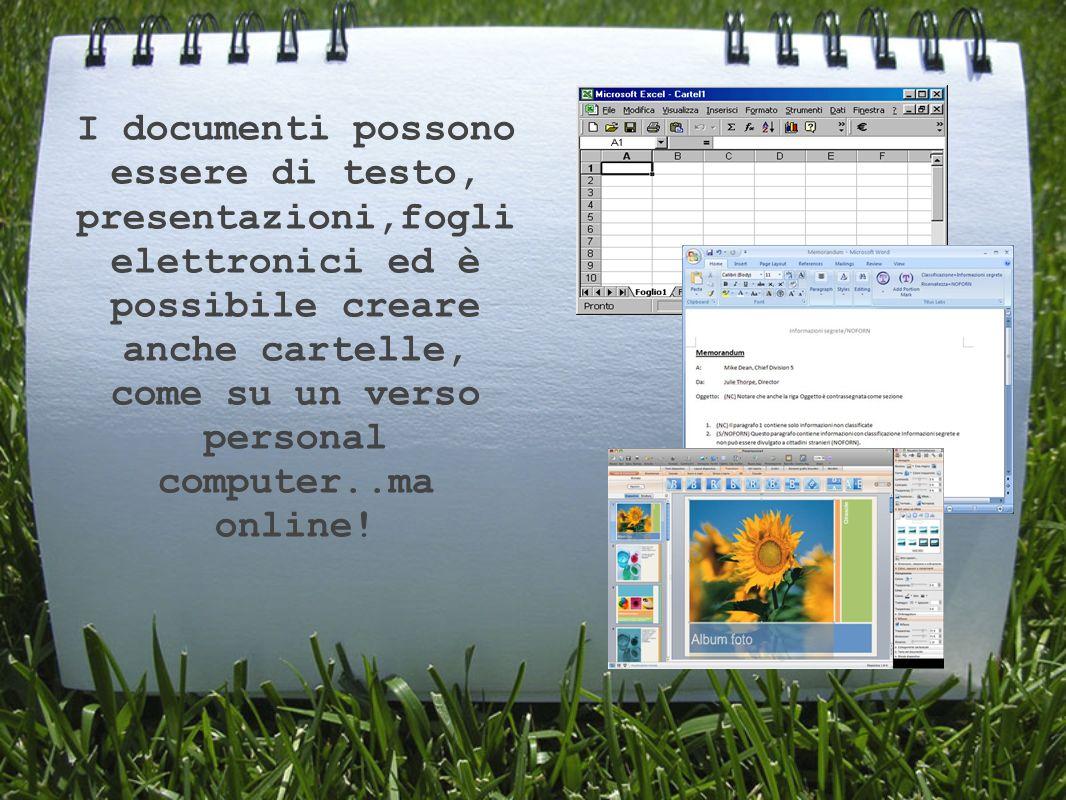 I documenti possono essere di testo, presentazioni,fogli elettronici ed è possibile creare anche cartelle, come su un verso personal computer..ma online!