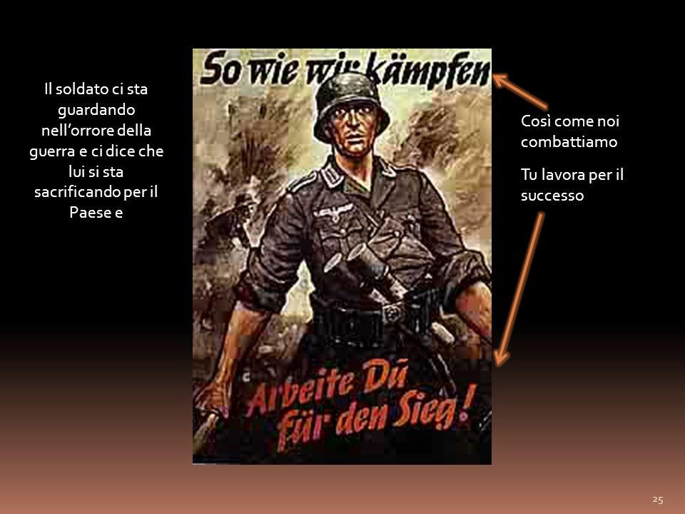 Il soldato ci sta guardando nell'orrore della guerra e ci dice che lui si sta sacrificando per il Paese e