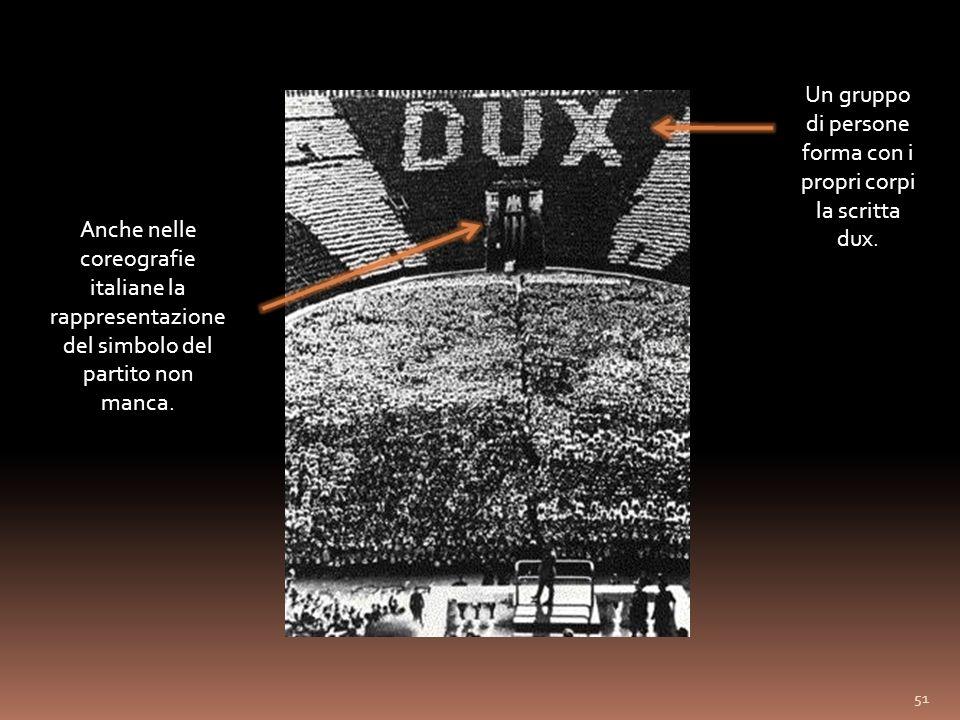 Un gruppo di persone forma con i propri corpi la scritta dux.