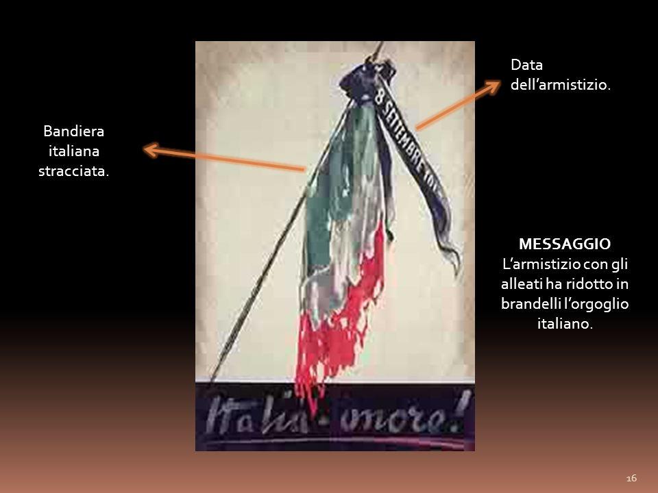 Bandiera italiana stracciata.