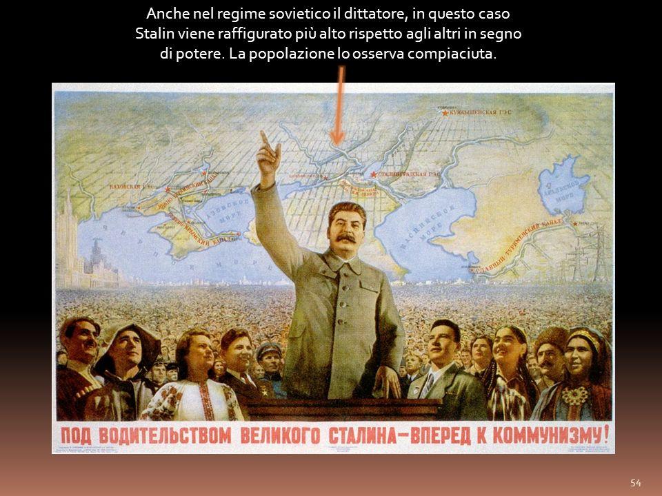 Anche nel regime sovietico il dittatore, in questo caso Stalin viene raffigurato più alto rispetto agli altri in segno di potere.