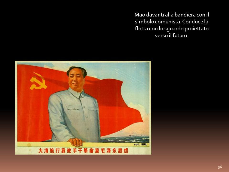 Mao davanti alla bandiera con il simbolo comunista