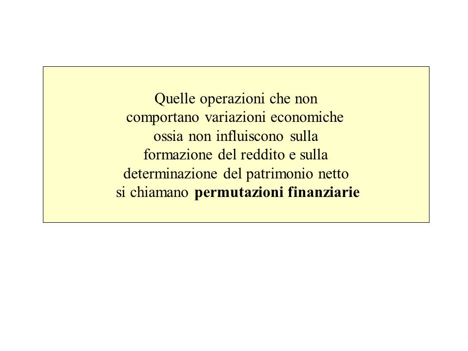 Quelle operazioni che non comportano variazioni economiche