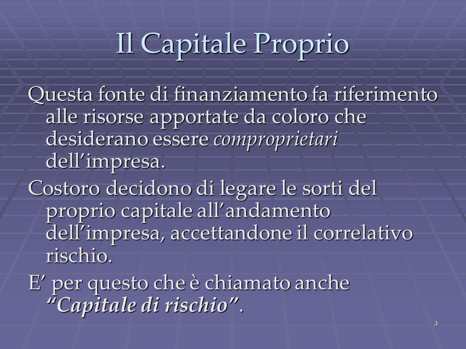 Il Capitale Proprio Questa fonte di finanziamento fa riferimento alle risorse apportate da coloro che desiderano essere comproprietari dell'impresa.