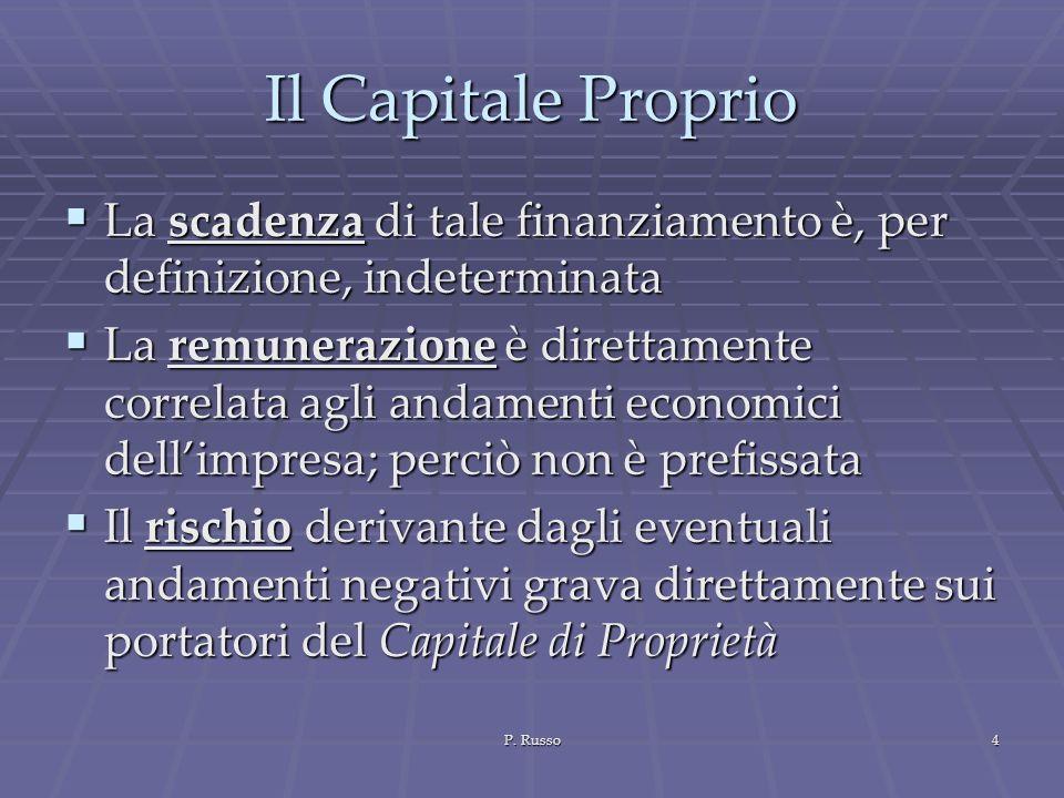 Il Capitale Proprio La scadenza di tale finanziamento è, per definizione, indeterminata.