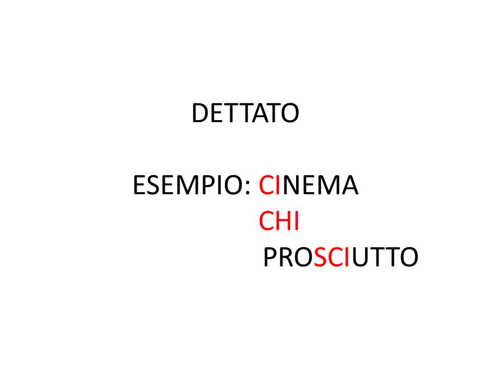 DETTATO ESEMPIO: CINEMA CHI PROSCIUTTO