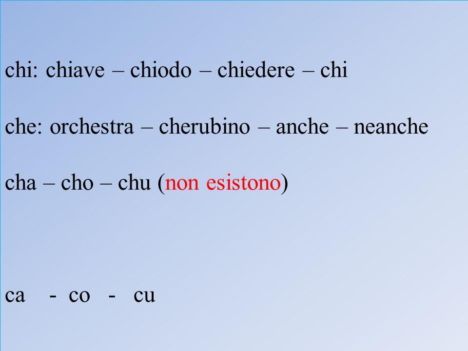 chi: chiave – chiodo – chiedere – chi che: orchestra – cherubino – anche – neanche cha – cho – chu (non esistono) ca - co - cu