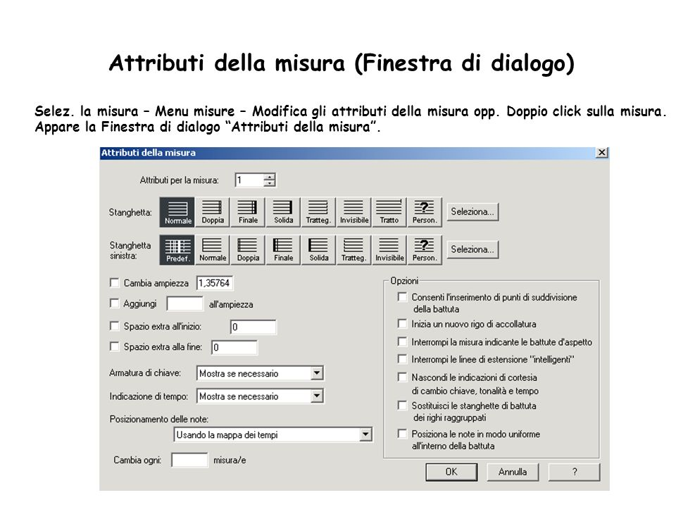 Attributi della misura (Finestra di dialogo)