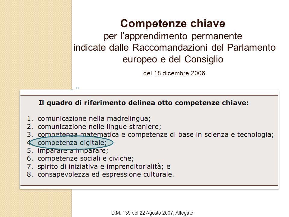 Competenze chiave del 18 dicembre 2006 per l'apprendimento permanente