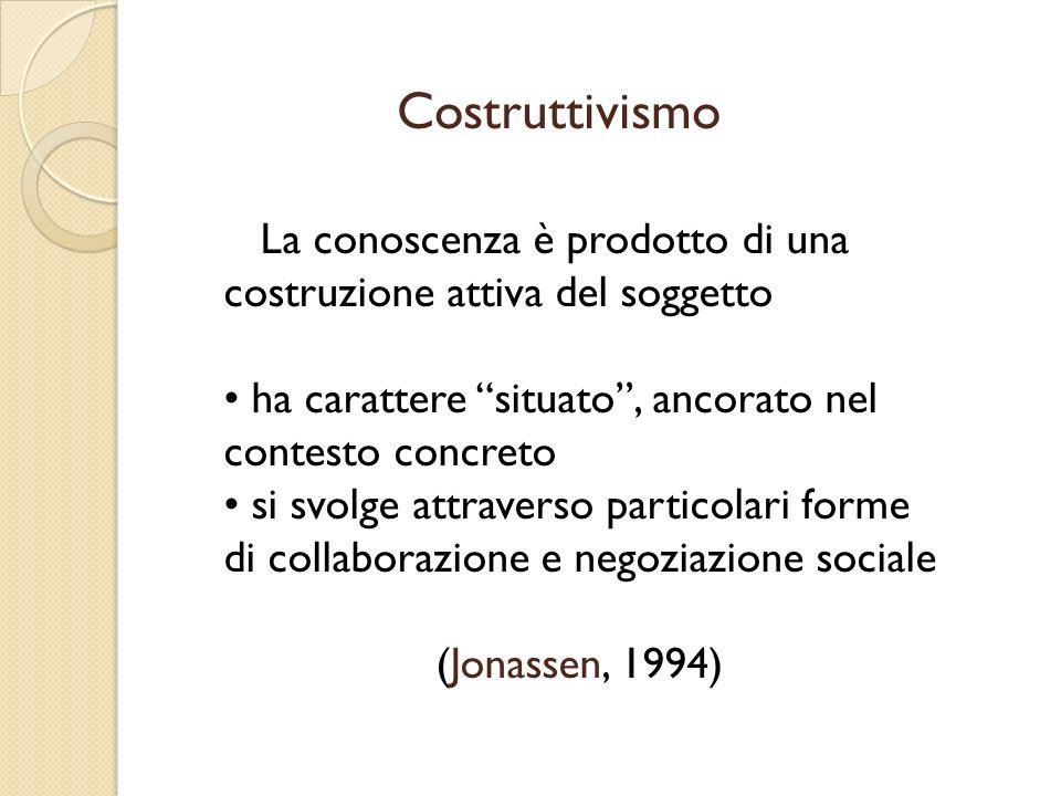 Costruttivismo La conoscenza è prodotto di una costruzione attiva del soggetto. ha carattere situato , ancorato nel contesto concreto.