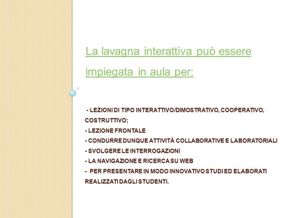 La lavagna interattiva può essere impiegata in aula per: