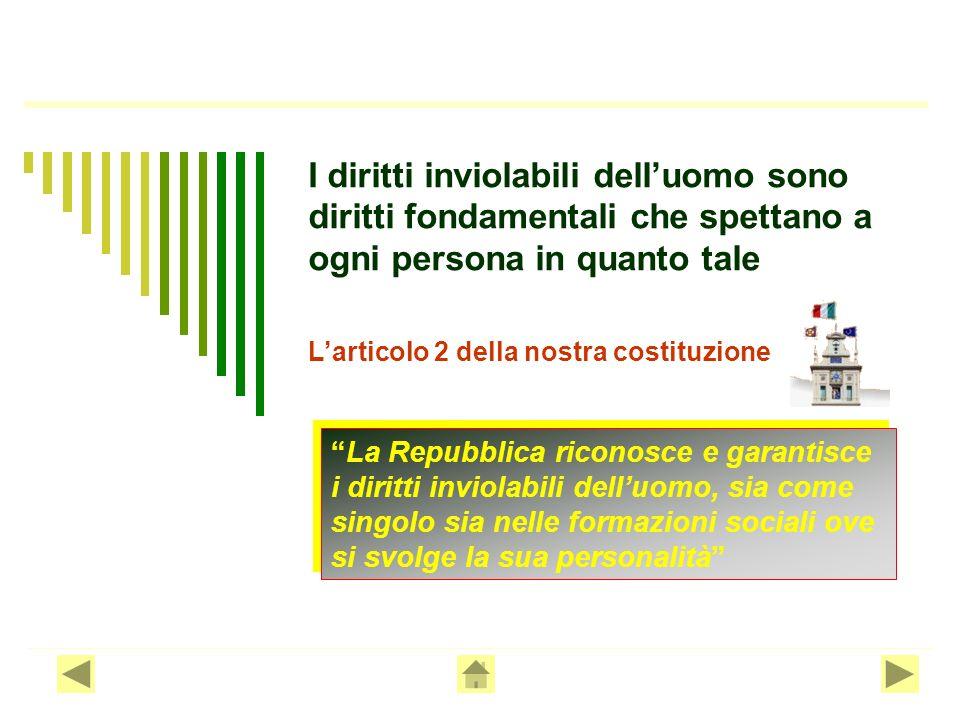 I diritti inviolabili dell'uomo sono diritti fondamentali che spettano a ogni persona in quanto tale