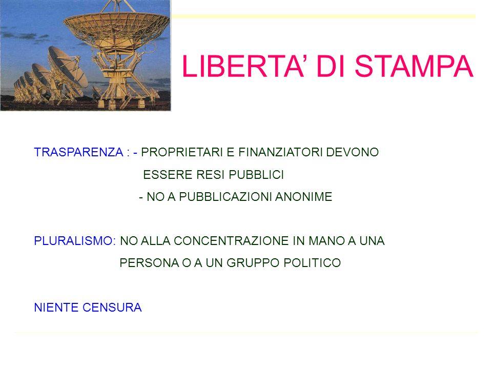 LIBERTA' DI STAMPA TRASPARENZA : - PROPRIETARI E FINANZIATORI DEVONO