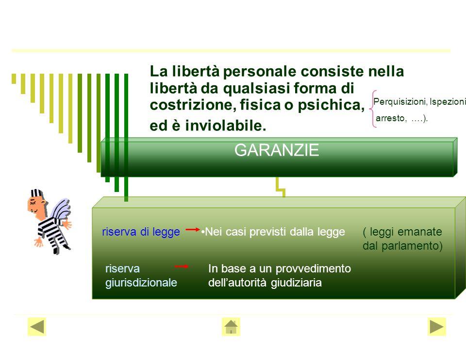 La libertà personale consiste nella libertà da qualsiasi forma di costrizione, fisica o psichica,